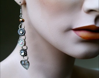 Articulated Bling Earrings - Sparkle Diamante Crystal - Over the Top Outi Earrings - Paris Heart
