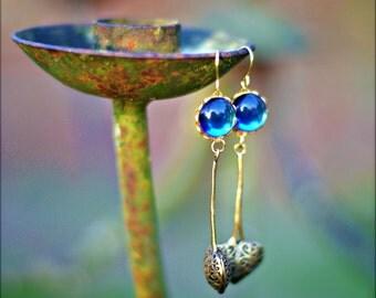 Blue Earrings - Heart of Brass Open Weave Basket & Bermuda Blue