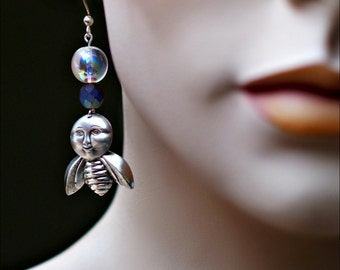 Bee & Rainbow Dangle Earrings - Smiling Moon Face - Iridescent Blue and Silver