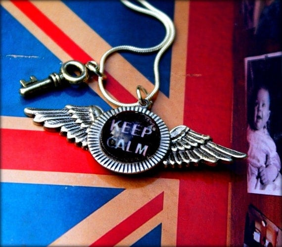 Keep Calm - Queen'sJubilee - Winged Necklace - Glass Bubble Mantra