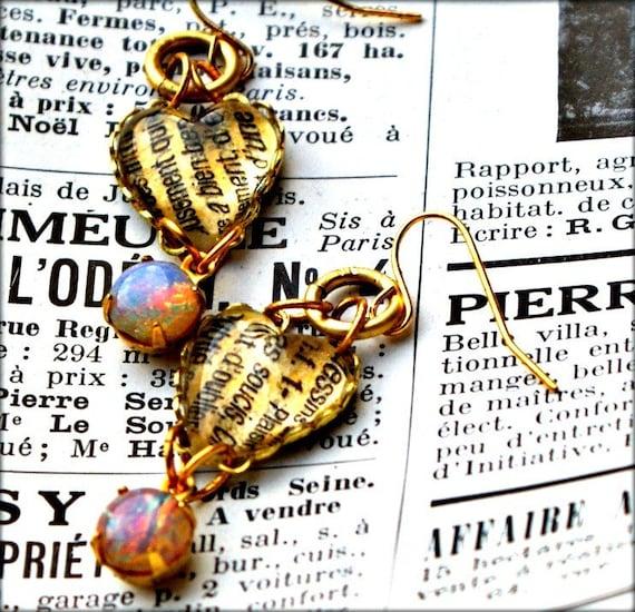 Text Earrings Opal Glass & Lightcatcher Heart