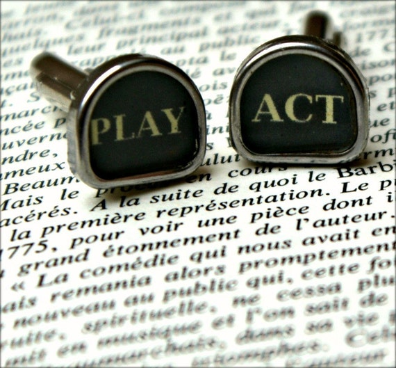 Vintage Typewriter Key  - Cuff Links - Play & Act - Theatrical Cufflinks - Personalised for You