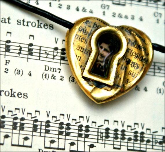 Vintage Heart Pendant Necklace Key Escutcheon Perfume Ephemera -- 1930's Through The Keyhole