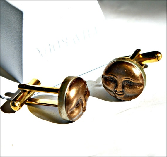 Wedding Men's Jewelry - Steampunk Cuff Links - Vintage Sun Face - VintageTypewriter Key Cufflinks