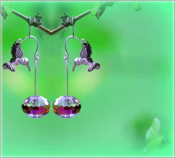Silver Hummingbird Earrings - Hovering over Rainbow Faceted Crystal
