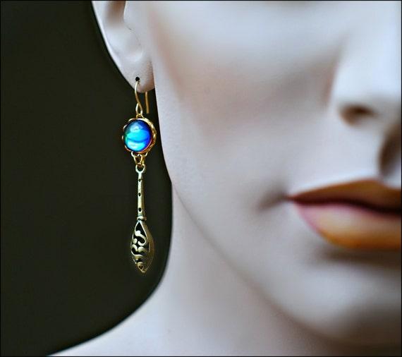 Blue Earrings - Brass Open Weave Teardrop Basket & Bermuda Blue