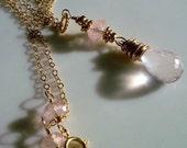 Rose Quartz and 14 kt Gold Filled Necklace