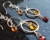 Cercle - Sterling Silver Circle Earrings with Tundru Sapphire and Mandarin Garnet Briolettes