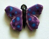 Purple Butterfly porcelain Pendant