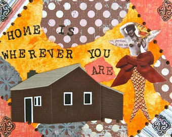 Handmade Altered Art Greeting Card, Mixed Media, Wherever You Are, Blank Inside