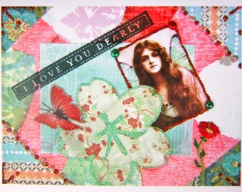 Altered Art Collage Greeting Card, Size 5x7 Card Print, Love You Dearly, Blank Inside