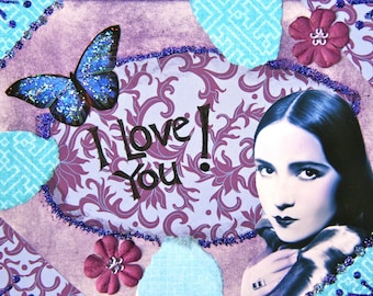 Handmade Collage Greeting Card, size 4x5 1/2, I love you, Blank Inside