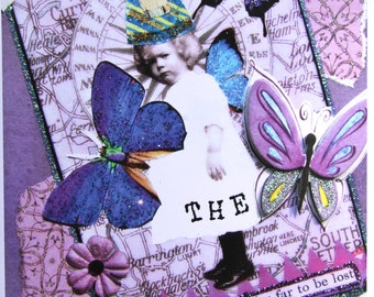 Altered Art Greeting Card, Seize the Day, Size 5x7, Blank Inside, Card Print