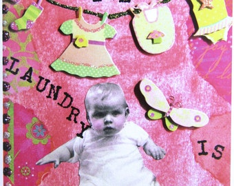 Even the Laundry is Cuter, Collage Greeting Card, Size 5x7, Blank Inside, Card Print