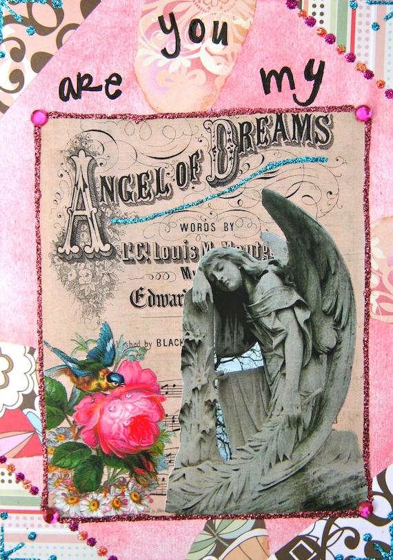 Handmade Altered Art Greeting Card, size 5x7, Angel of Dreams, Blank Inside