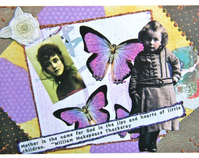 Collage Greeting Card, Size 5 x 7 Card Print, Mother is the Name for God, Blank Inside