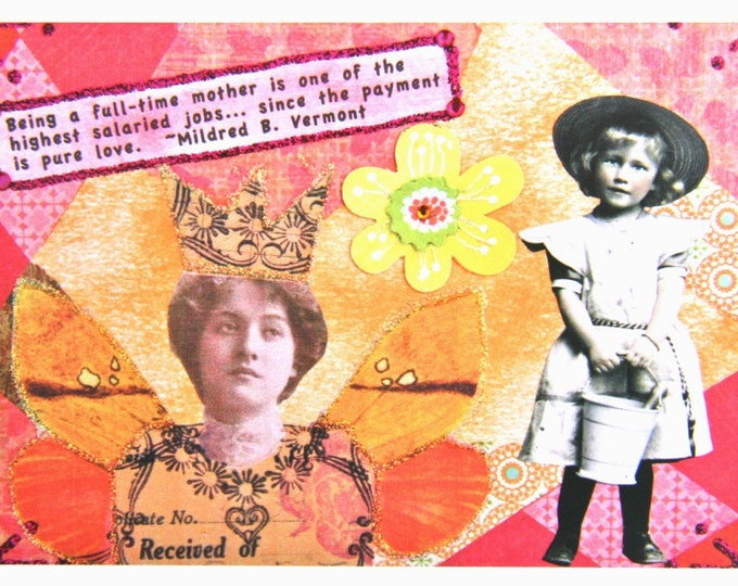 Altered Art Greeting Card, Size 5 x 7 Card Print, Full Time Mother, Blank Inside