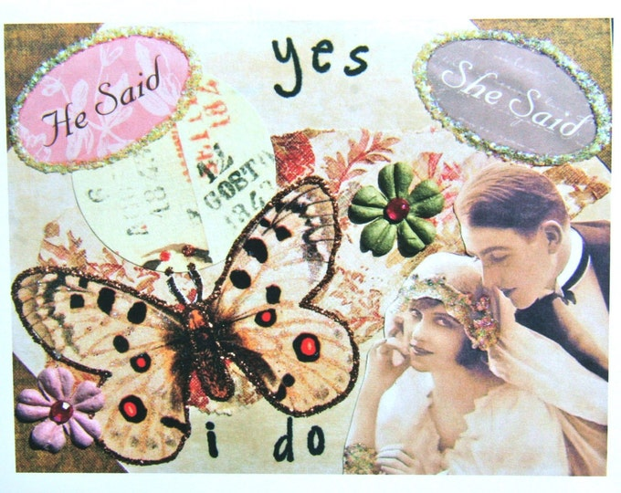 Collage Greeting Card, Wedding 5 x 7 Card Print, Yes I Do, Blank Inside