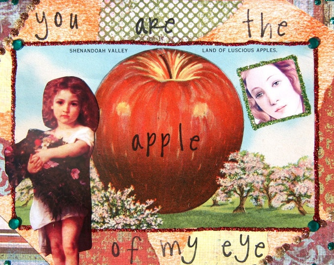 Handmade Altered Art Greeting Card, Mixed Media, Size 5x7, Apple of My Eye, Blank Inside