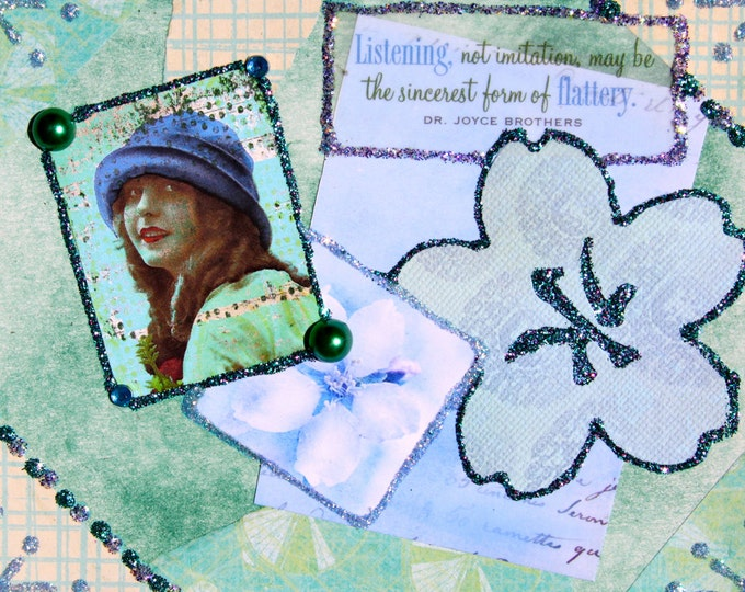 Handmade Altered Art Greeting Card, size 4 X 51/2, Listening, Blank Inside