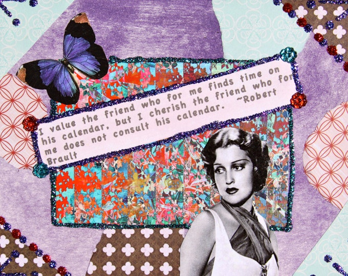 Handmade Altered Art Greeting Card, Size 4 X 51/2, I Cherish the Friend, Blank Inside