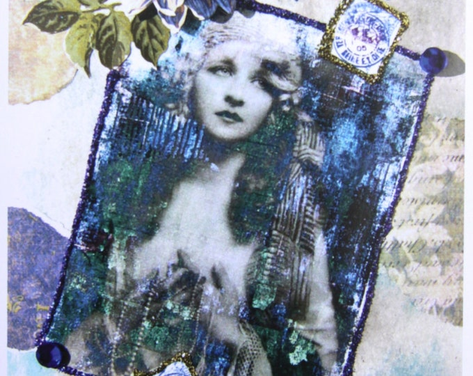 Mixed Media Collage Card, With Love Everlasting, Size 5x7, Blank Inside, Card Print