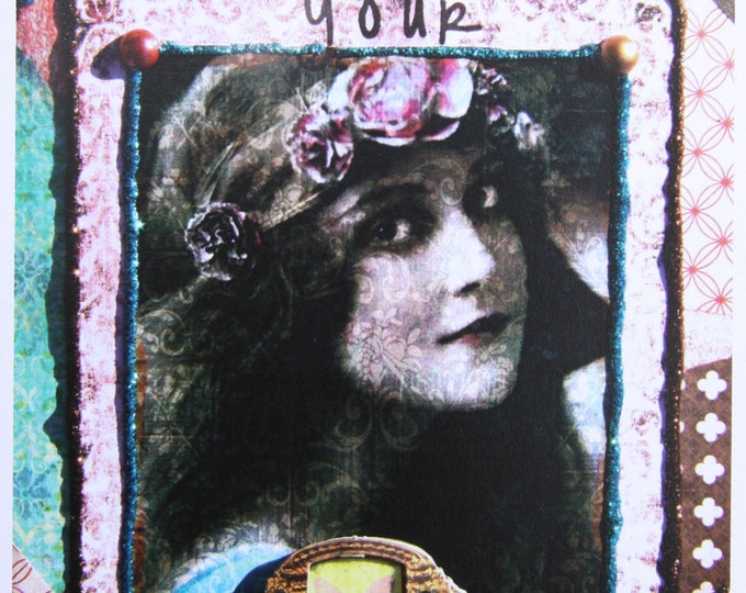 Altered Art Greeting Card, You Must Take Your Chance, Size 5x7, Blank Inside, Card Print