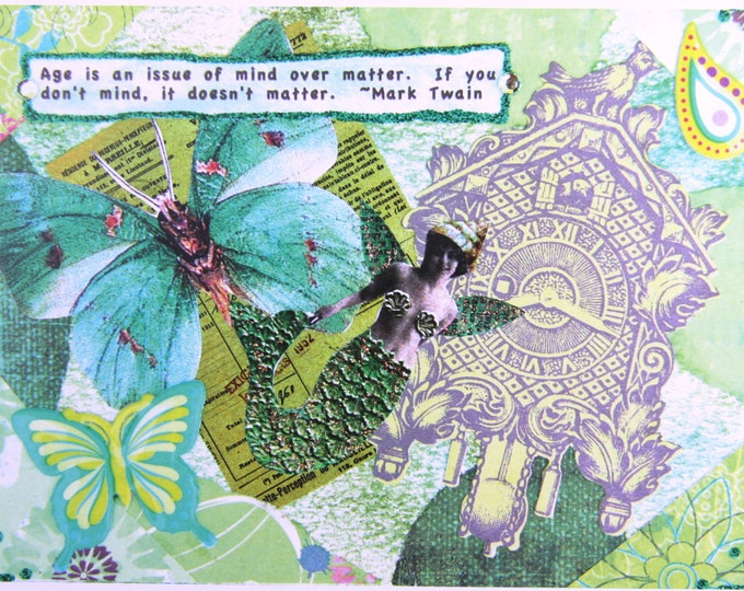 Altered Art Greeting Cad, Mind Over Matter, Size 5x7, Blank Inside, Card Print