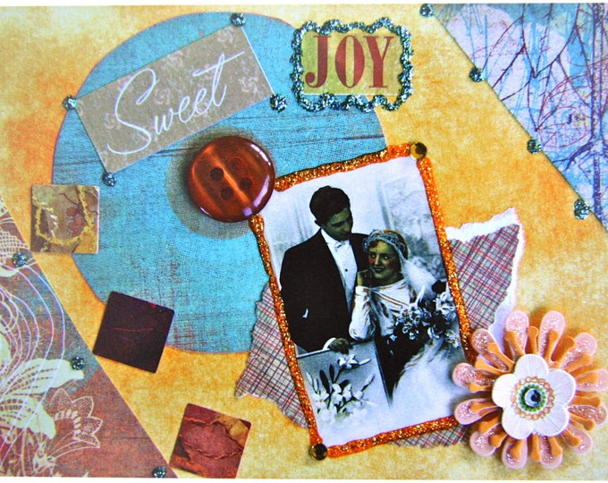 Sweet Joy, Collage Greeting Card, Size 5x7, Blank Inside, Card Print