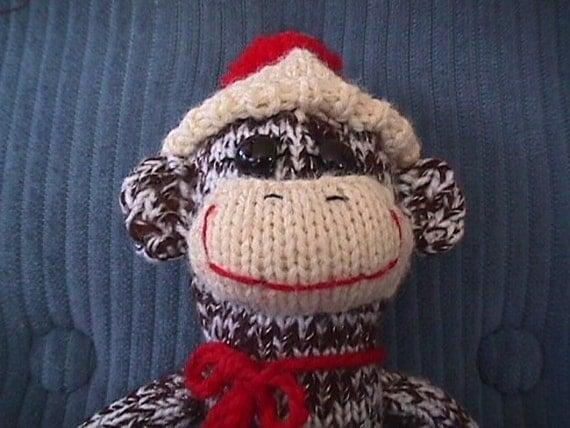 Long, Thin Knitted  Sock Monkey Doll