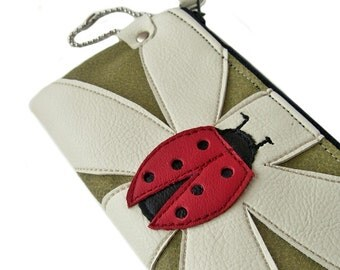 Ladybug Daisy Applique Green Cream and Red Zipper Case