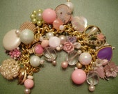 "Vintage Charm Bracelet ""Pretty in Pink"" Valentine Romance Upcycled Altered Art"