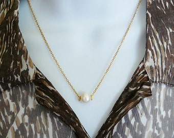 Necklace Pearl Slider Gold Filled Freshwater 16 inch, 1 large pearl