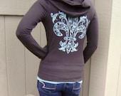 New - S, M, L, XL, XXL - Fleur de Lisa on Zip Front Chocolate Hoodie