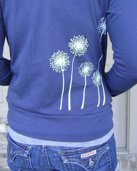 SALE - S, M, or XXL  Dandelion Wishes on Navy Cadet Jacket