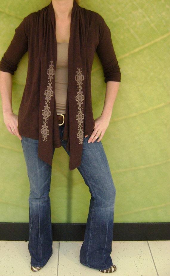 Lacy Revival on Raisin Long Sleeve Wrap