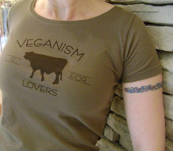 S, M, L, XL - Veganism is for Lovers Organic Cotton Tee in Earth Brown
