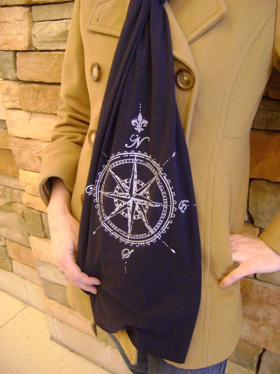 Compass Rose Scarf in Navy