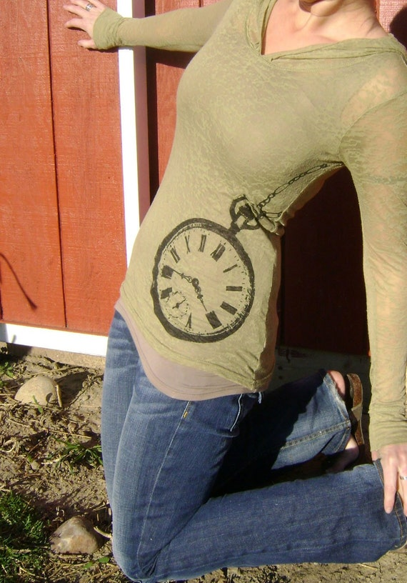 New - S, M, L, XL, XXL - Pocket Watch Long Sleeved Tee in Willow Green