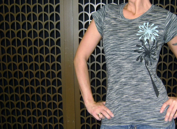 S, M, L, XL - Flirty Flowers Striae Short Sleeved Tee in Granite