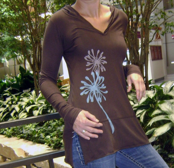 NEW - S, M, L, XL - Flirty Flowers Hoodie in Chocolate
