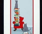 Bookworm-  Archival Print of Original Illustration