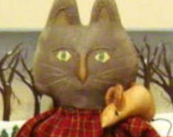 Primitive E-PATTERN Easter Cat Kitty Doll Mouse PDF