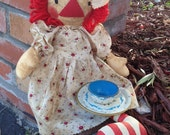 DIY PATTERN Raggedy Ann Primitive Folk Art Tea with Raggedy
