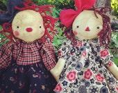 Raggedy Ann Primitive Pair Sisters Folk Art doll  Annie pattern