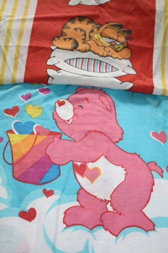 3 Vintage Bed Sheets Garfield Care Bears Twin Size