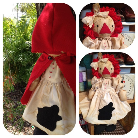 Raggedy Ann Stuffed Doll Primitive Folk Art Red Riding Hood Annie