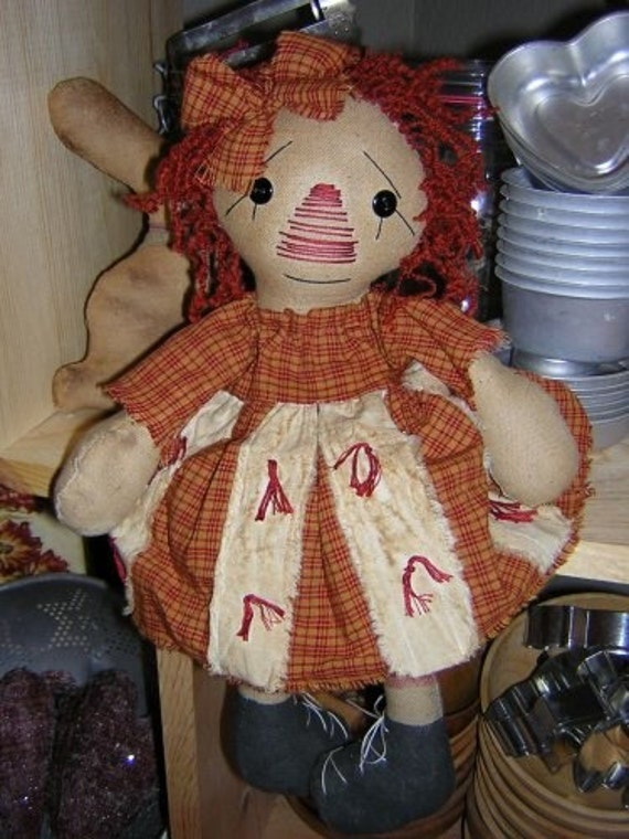 Raggedy Ann Cupboard doll Primitive Sewing pattern
