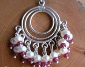 RESERVED FINAL SALE Bali - Silver Hoops with Pearls and Rubies