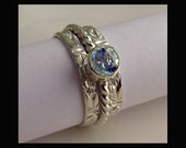 Blue Topaz Ring - Silver Stacking - Set of 3